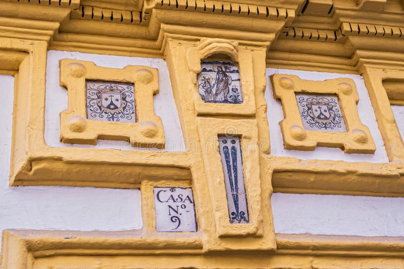 Detail of house in typical street of Seville stock photo