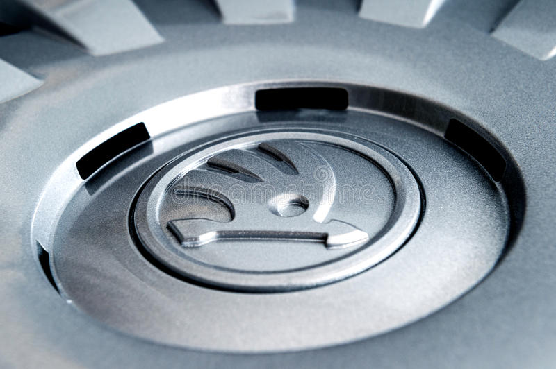 Detail of hubcap hubcover. PARIS, FRANCE - DEC 18, 2016: Detail of modern hubcap hub covers for the winter tyres made by Skoda Auto for Skoda Superb, Skoda stock image