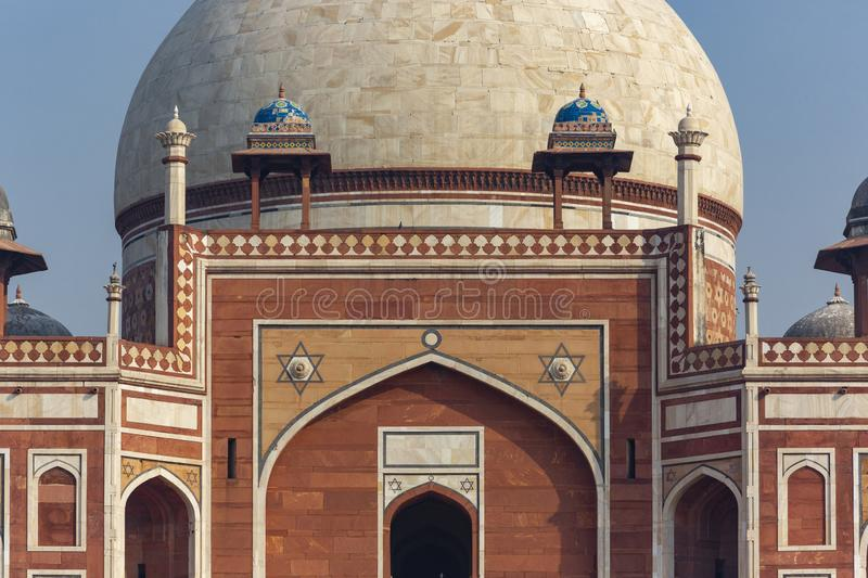 Humayun`s tomb of Mughal Emperor Humayun designed by Persian arc. Detail of Humayun`s tomb of Mughal Emperor Humayun designed by Persian architect Mirak Mirza stock images