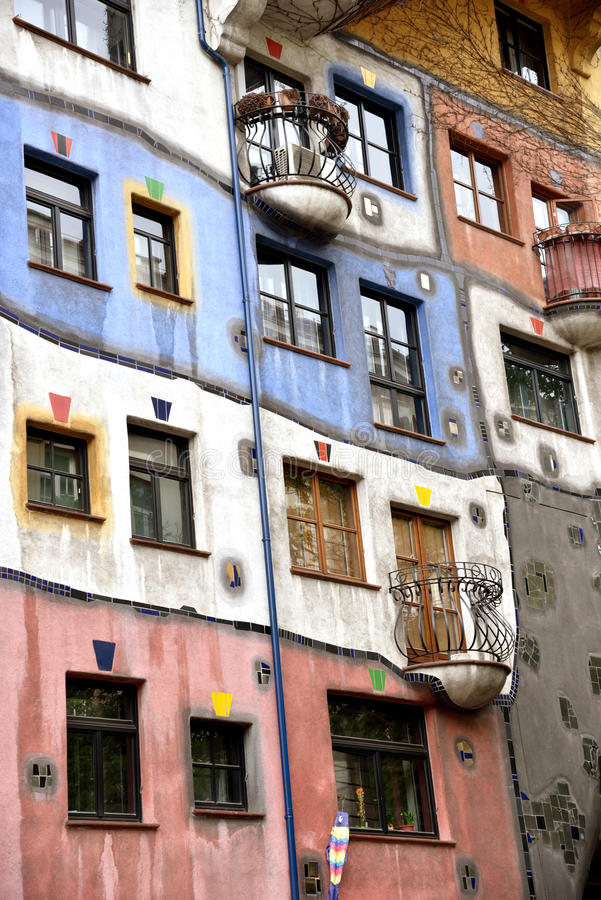 Detail of Hundertwasser House in Vienna, Austria, Europe. Travel royalty free stock image