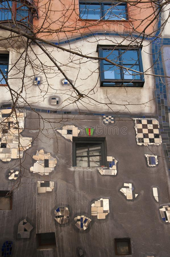 Detail from the Hundertwasser House in Vienna stock photography