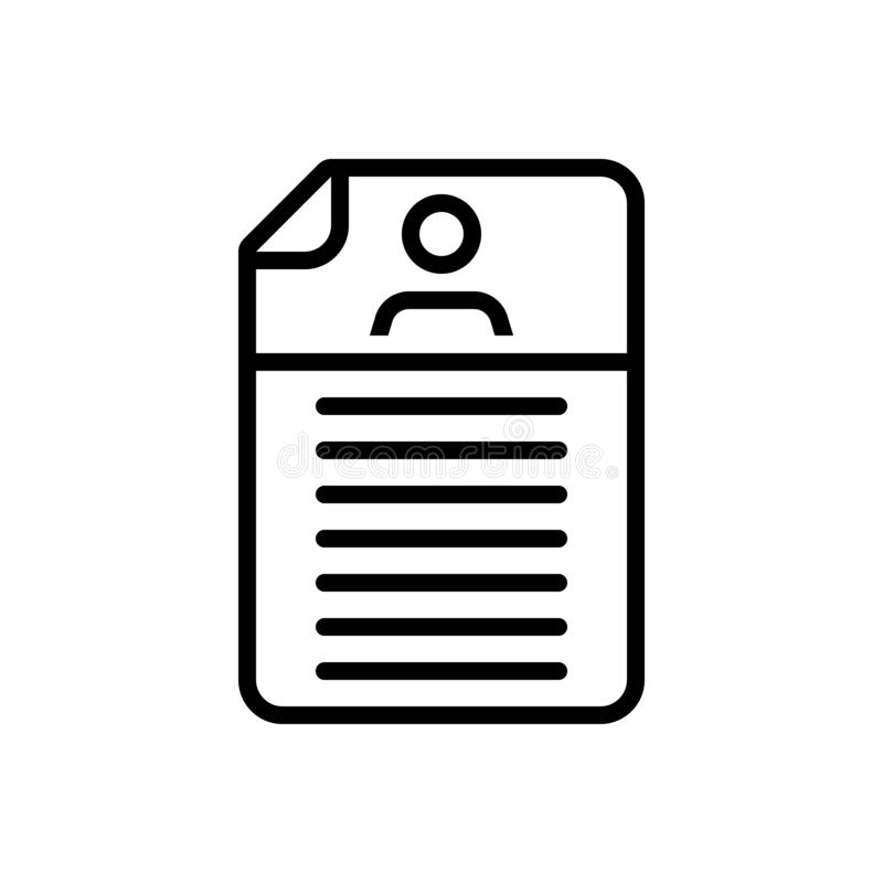 Black line icon for Detail, expansion and elaboration. Black line icon for  detail, document, resume,  expansion and elaboration stock illustration