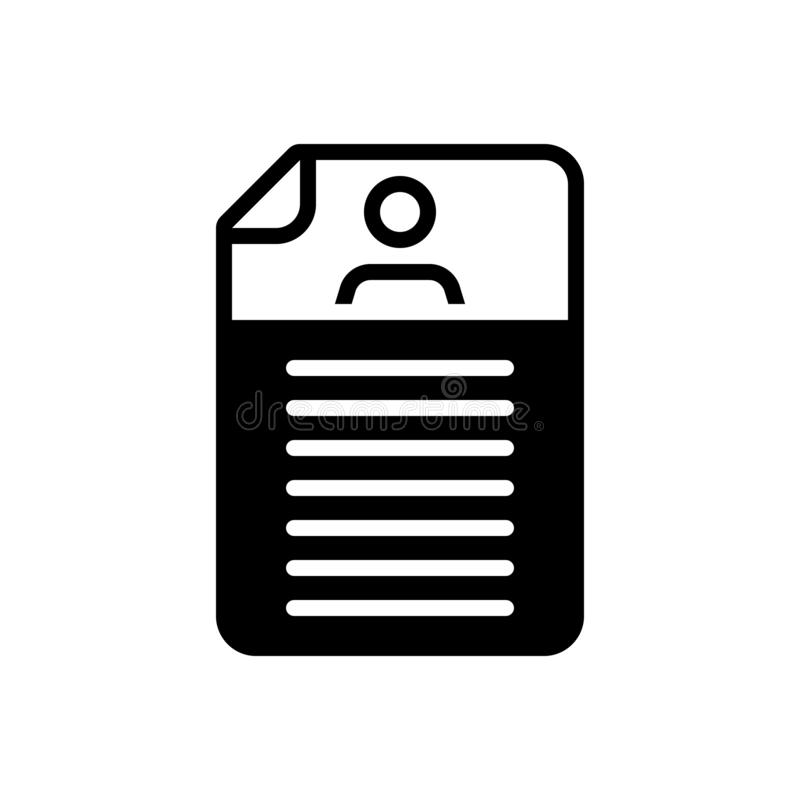 Black solid icon for Detail, expansion and elaboration. Black solid icon for Detail, document, resume, logo,  expansion and elaboration royalty free illustration