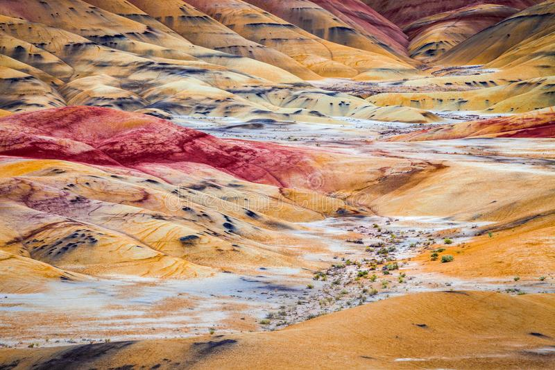 Detail image of the colorful clay hills in the Painted Hills of royalty free stock photo