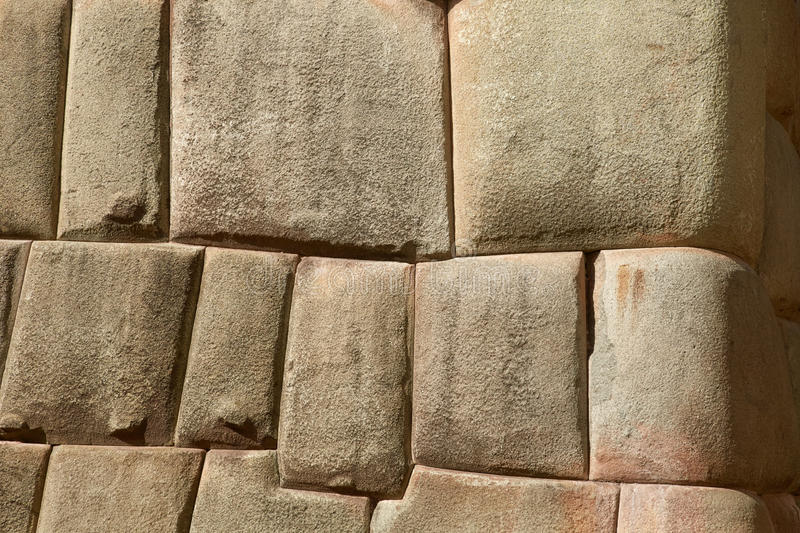 Detail of Inca wall in city of Cuzco. In Peru stock image