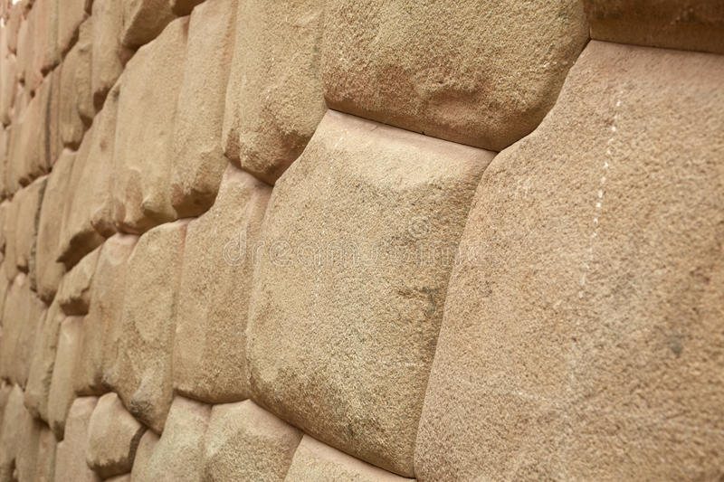 Detail of Inca wall in city of Cuzco. In Peru royalty free stock images