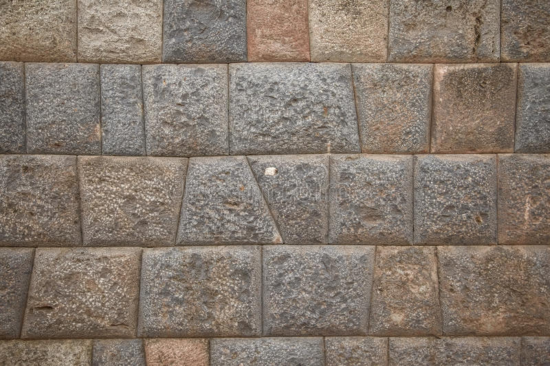 Detail of Inca wall in city of Cuzco. In Peru stock photo