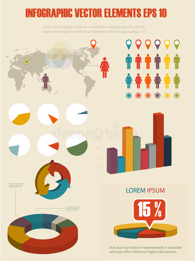 Detail infographic illustration. Elements of infographics in retro style vector illustration
