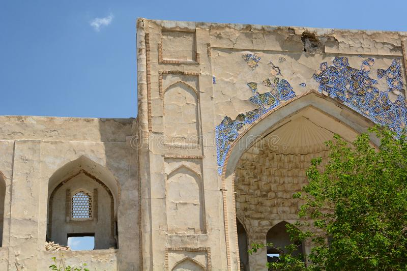 Detail of the inner portal. Allakuli Khan madrasah. Bukhara. Uzbekistan. Bukhara is a city in Uzbekistan, located on the ancient Silk Road, rich in historical royalty free stock image