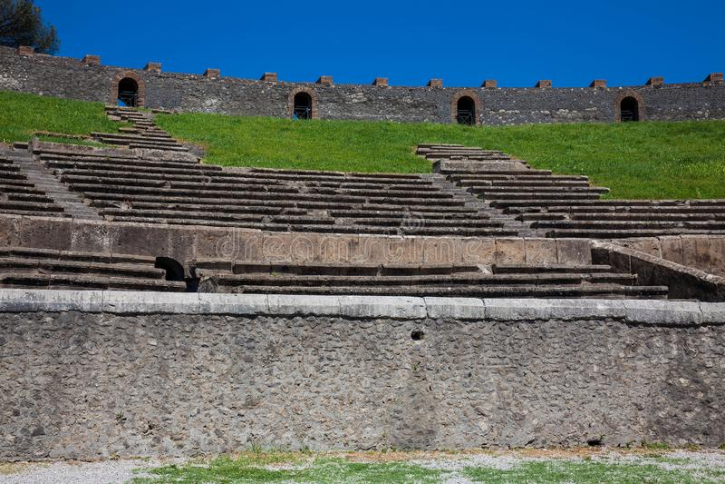 Interior of the Amphitheatre of Pompeii. Detail of the interior of the Amphitheatre of Pompeii stock image