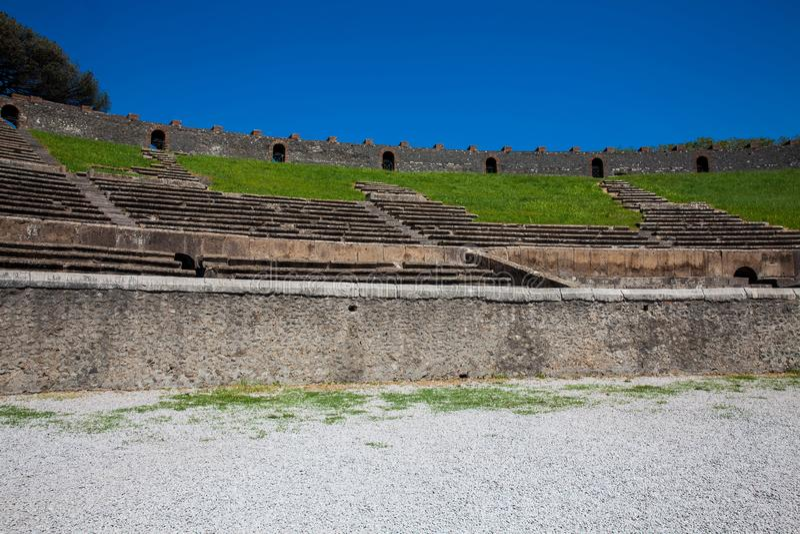 Interior of the Amphitheatre of Pompeii. Detail of the interior of the Amphitheatre of Pompeii stock photo