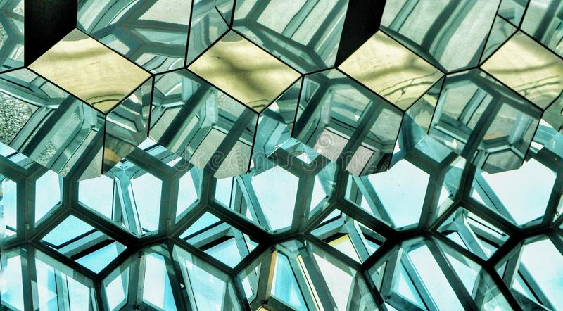 Detail of the interior of Harpa Concert Hall in Reykjavik, Iceland. royalty free stock image