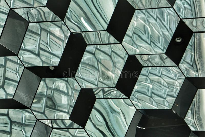 Detail of the interior of Harpa Concert Hall in Reykjavik, Iceland. Modern, architecture, building, geometric, shapes, squares, cubes, award, winning, landmard royalty free stock photo