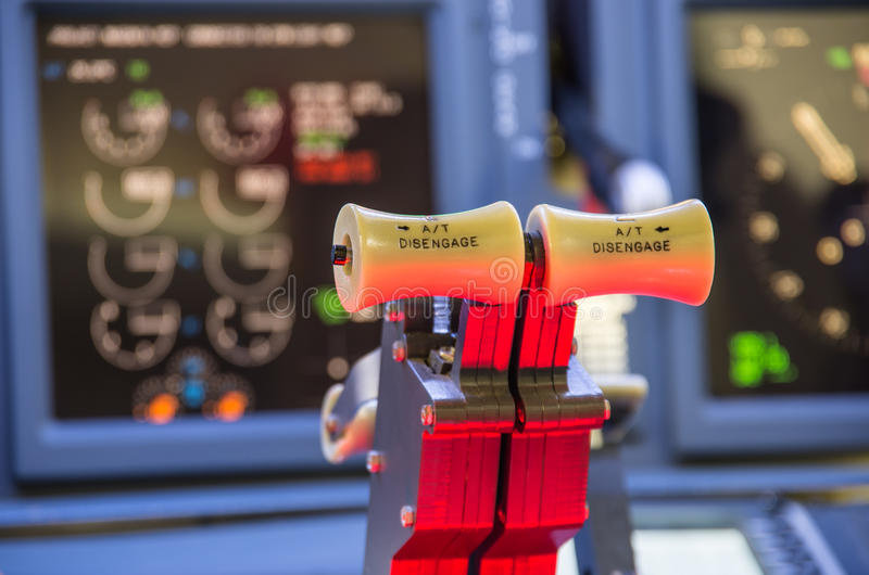 Throttle of an homemade Flight Simulator - Boeing 737-800. Detail of the interior of an homemade flight simulator, Boeing 737-800 royalty free stock photo