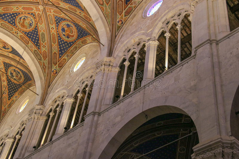 Detail interior view of Lucca Cathedral. Cattedrale di San Martino. Tuscany. Italy. royalty free stock images