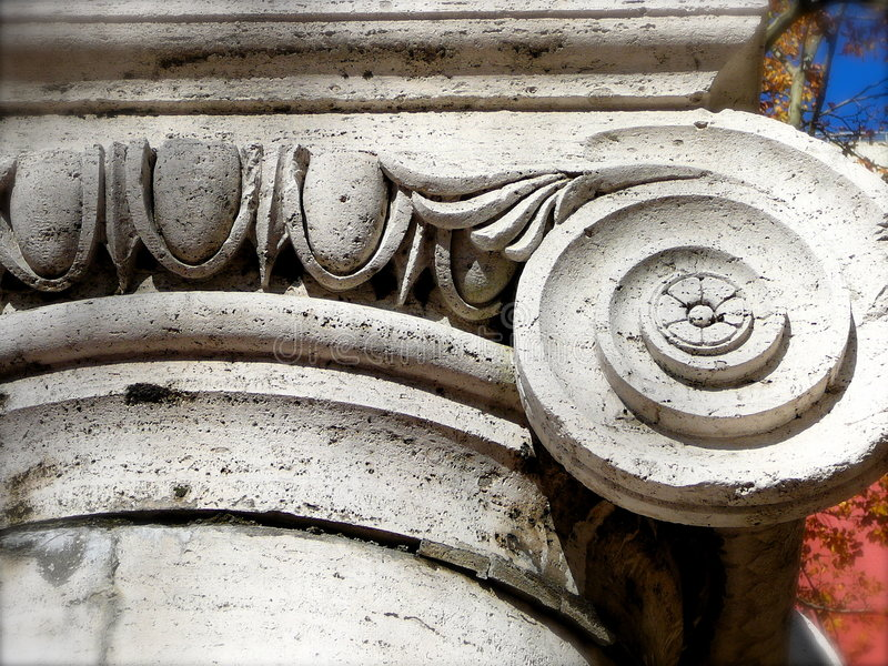 Detail of Ionic Capital and Column Base, c. 1910 royalty free stock photography