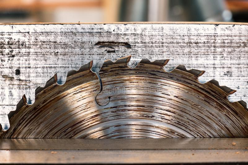 Detail iron circular saw for wood. carpentry. blade close-up royalty free stock images