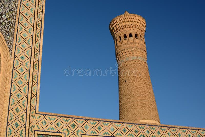 Detail of Kalyan minaret. Po-i-Kalyan complex. Bukhara. Uzbekistan. Bukhara is a city in Uzbekistan, located on the ancient Silk Road, rich in historical sites stock photo