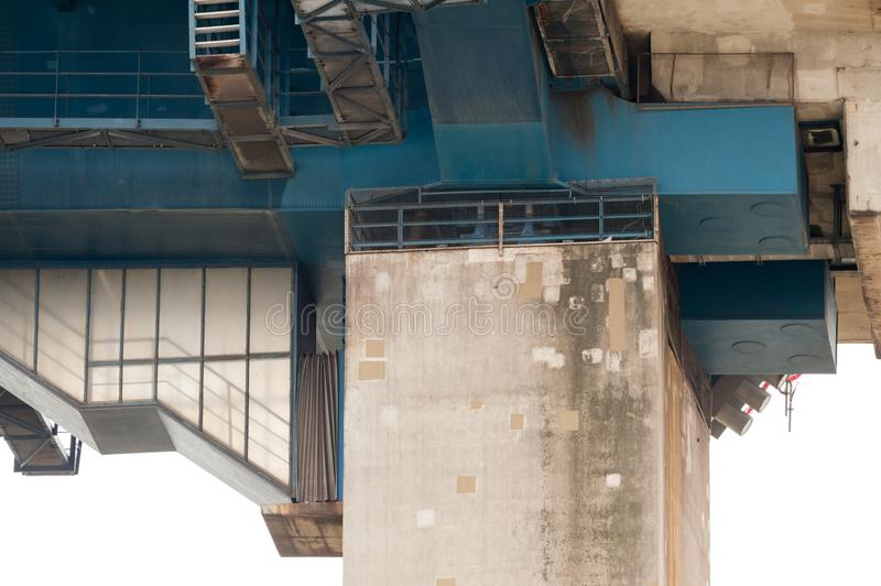 Detail of the Koehlbrand Bridge. Showing the transition from the Pylon Part to the concrete Part of the bridge royalty free stock images
