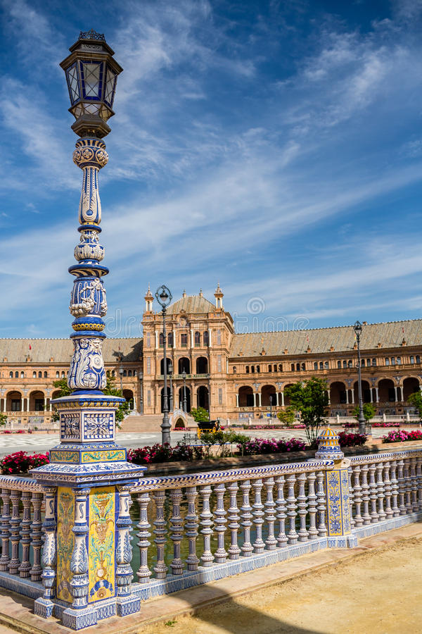 Detail of a lantern decorated with azulejos on Plaza De Espana. royalty free stock photos