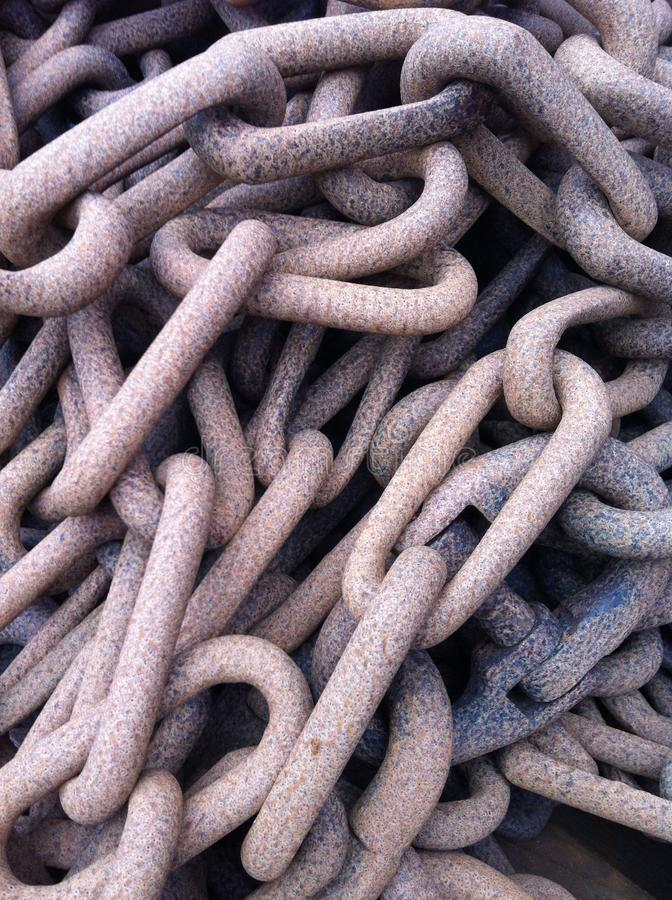Detail of large rusty chain links. stock images
