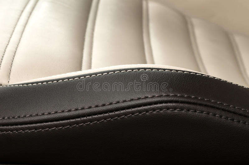 Detail of leather car seat. Horizontal photo stock image