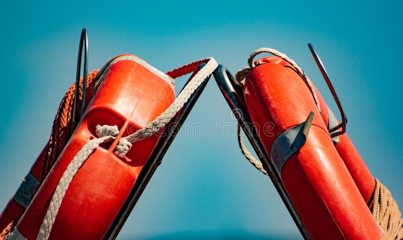 Detail of life jackets used in boats or lifeguards to save lives.  stock photos
