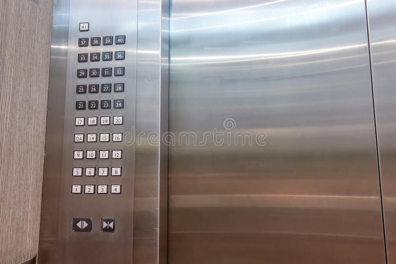 Detail of lift or elevator key pad , elevator buttons panal royalty free stock image
