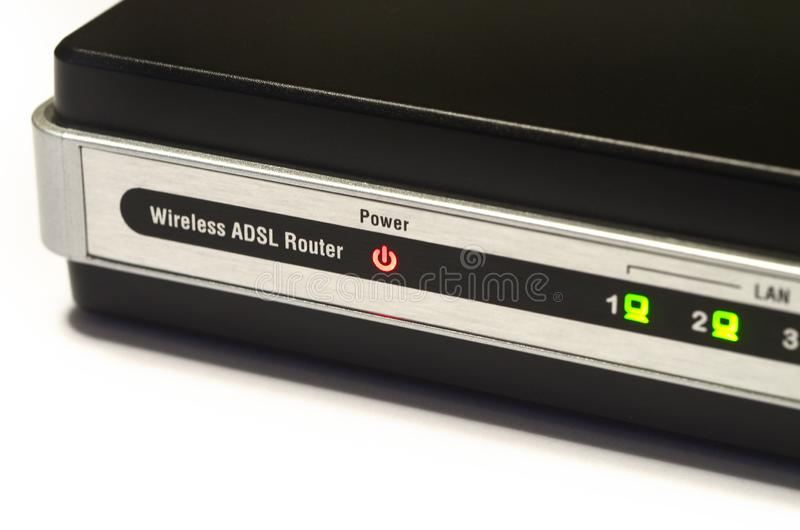 Detail of lights on modern Modem Router ADSL WiFi.  royalty free stock images
