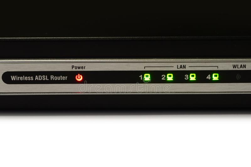 Detail of lights on modern Modem Router ADSL WiFi.  royalty free stock photos