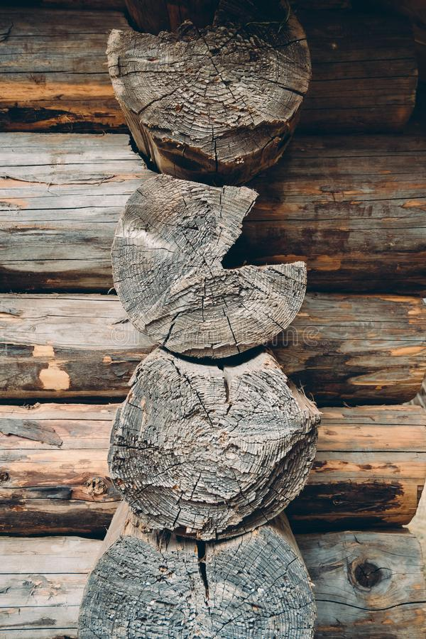 Detail of log cut surfaces of old wooden house. Close up of log cut surfaces of old traditional wooden log house royalty free stock photography