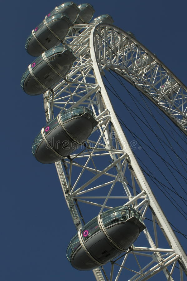 Detail of the London Eye. Close up of the London Eye showing part of the famous white wheel frame and capsules, London stock photos