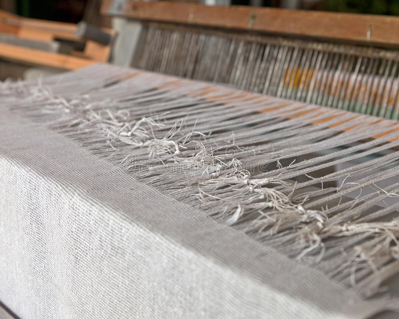 Detail of Loom. Details of an old fashioned fabic loom stock photos
