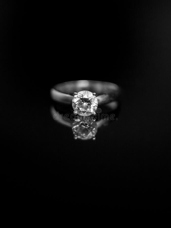 Detail macro shot of a beautiful diamond engagement ring royalty free stock images