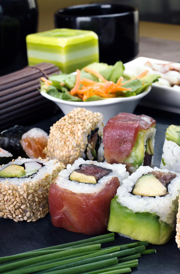 Detail macro of the tray of sushi rolls royalty free stock photography
