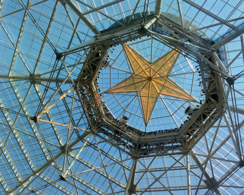 Detail of main hall star ceiling in Gaylord Texan hotel. stock photo