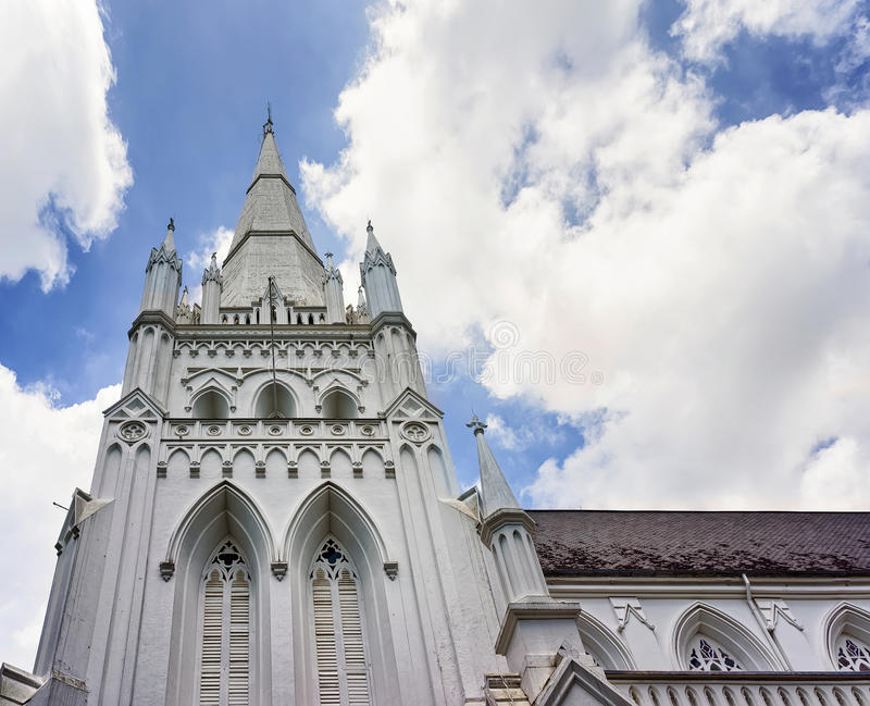 Detail of main steeple of St Andrews Cathedral in Singapore royalty free stock photos