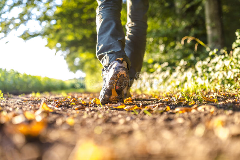 Detail of man hiking royalty free stock photography