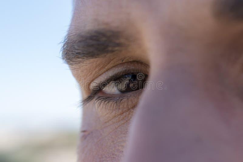 Detail of a man`s eye royalty free stock photos