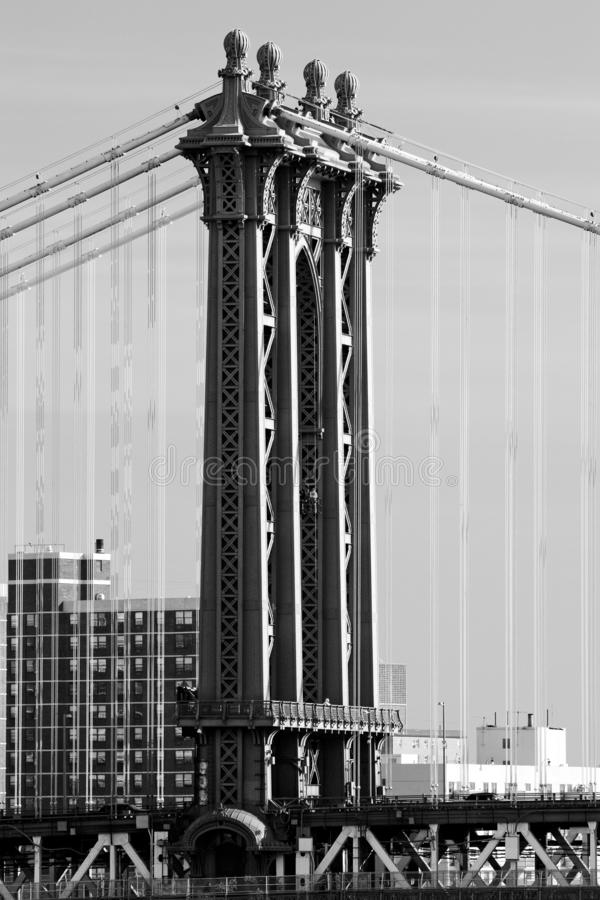 Detail of Manhattan Bridge, New York City, USA. Outdoor, outdoors, outside, exterior, exteriors, america, north, mid-atlantic, northeast, united, states, ny stock photo