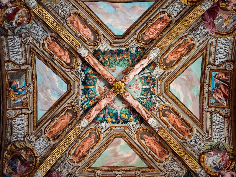 Detail of the marvelous Renaissance frescoes on the ceiling of t stock image