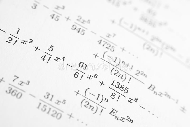 Detail of math reference book stock photos