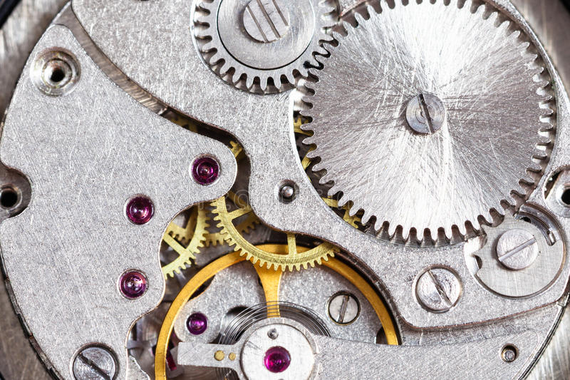 Detail of mechanical wristwatch close up royalty free stock photo