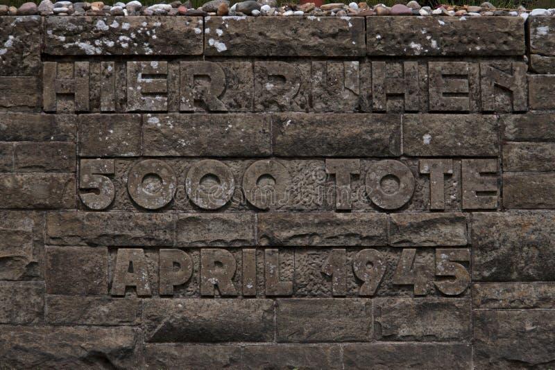 Detail of memorial monument indicating 5,000 deaths in the Bergen-Belsen memorial. Bergen-Belsen, Germany - June 22, 2008: Lohheide, detail of memorial monument royalty free stock photos