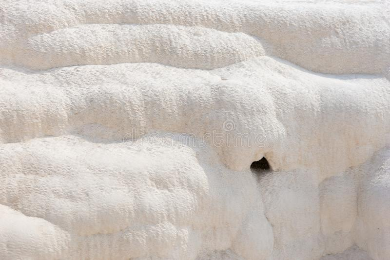 Detail of the mineral deposits at Pumakkale stock photography