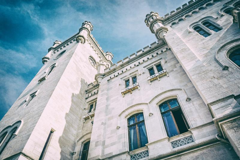 Detail of Miramare castle near Trieste, analog filter. Detail of Miramare castle near Trieste, northeastern Italy. Travel destination. Beautiful architecture royalty free stock photo