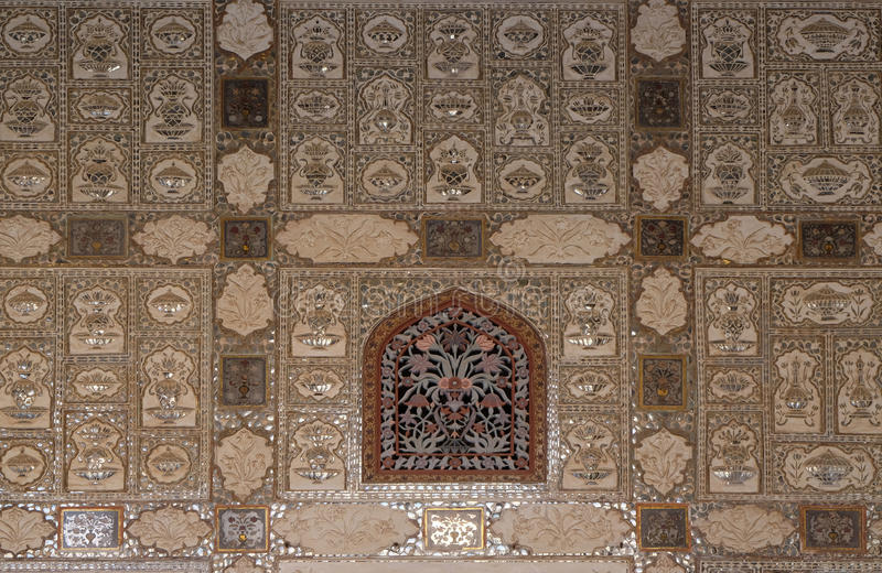 Detail of the mirrored ceiling in the Mirror Palace at Amber Fort in Jaipur. Rajasthan, India royalty free stock image