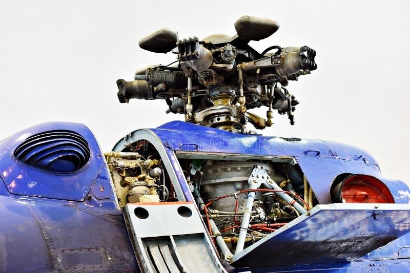 Detail mit Hubschrauberrumpf und Läuferschaufel lizenzfreie stockfotografie