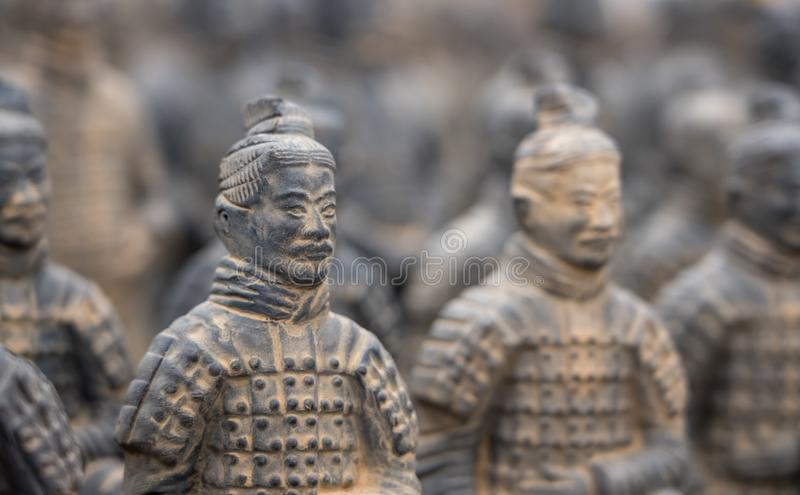 Terracotta Army warriors buried in Emperor tomb outside Xian China royalty free stock photos