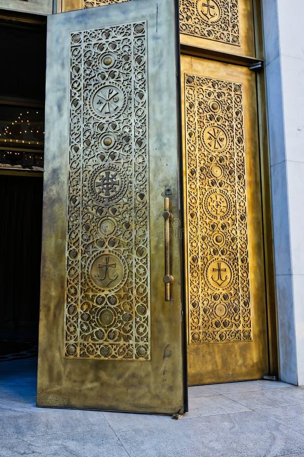 Heavy Bronze Doors, Orthodox Resurrection Cathedral, Tirana, Albania stock photo